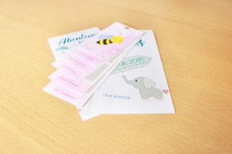 Gestaltung und Digitaldruck von Baby- und Geburtskarten