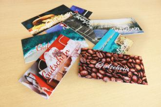 Gestaltung und Digitaldruck von Gutscheinen und Geschenkkarten