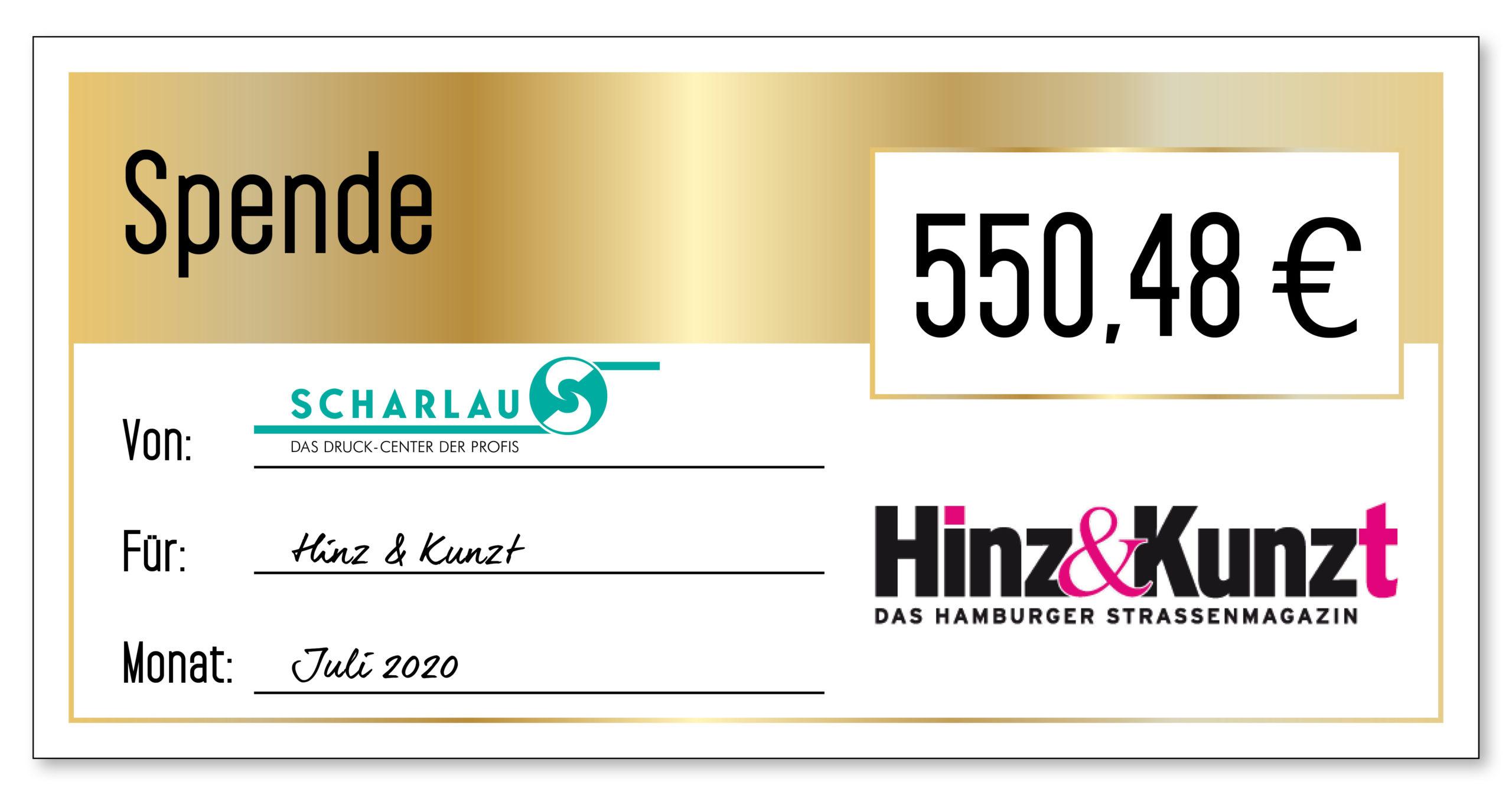 Spendenscheck an Hinz&Kunzt im Juli 2020