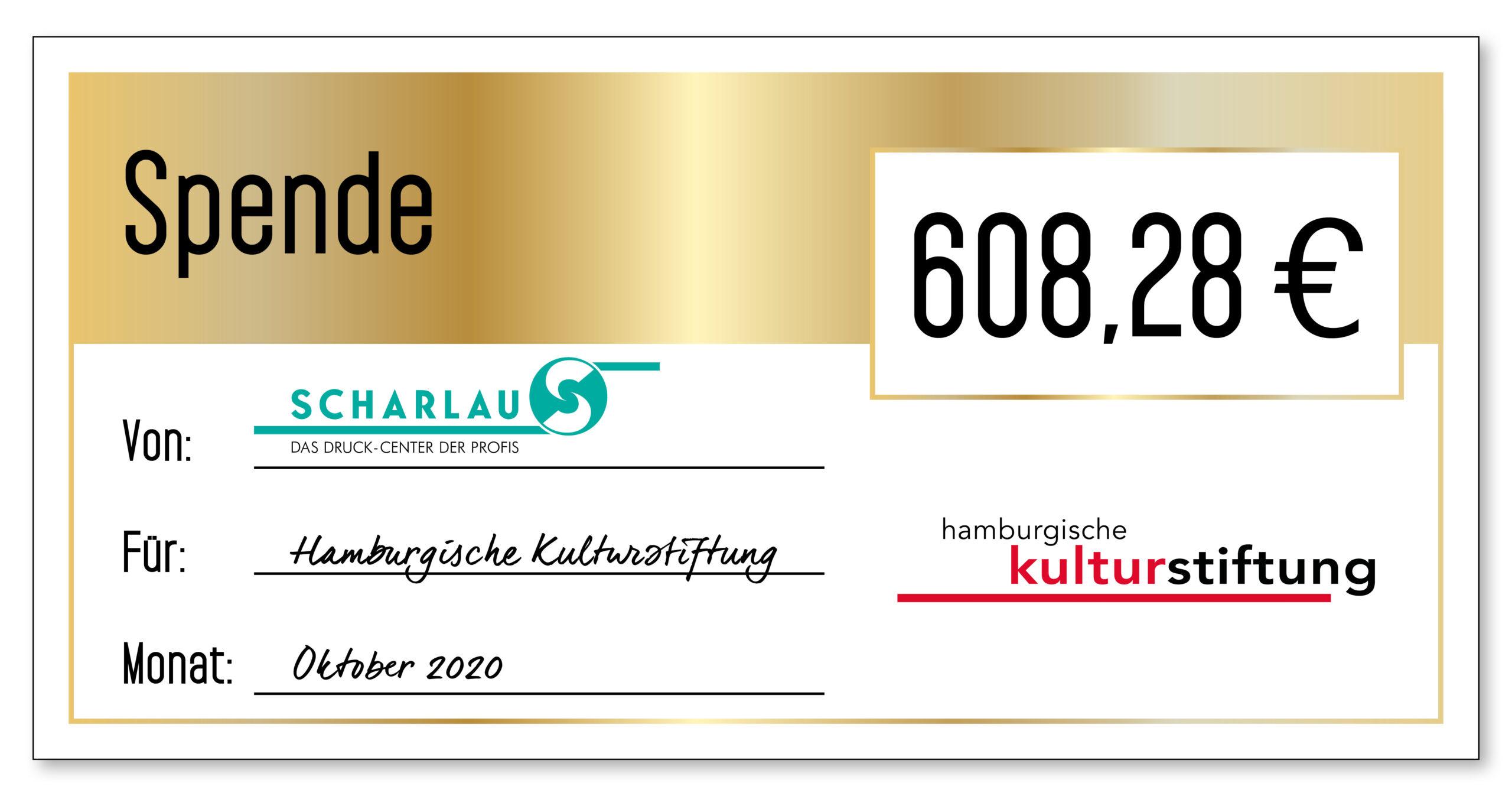 Spendenscheck an die Hamburgische Kulturstiftung im Oktober 2020