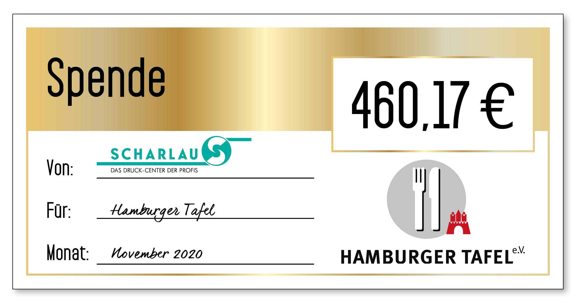 Spendenscheck an die Hamburger Tafel im November 2020