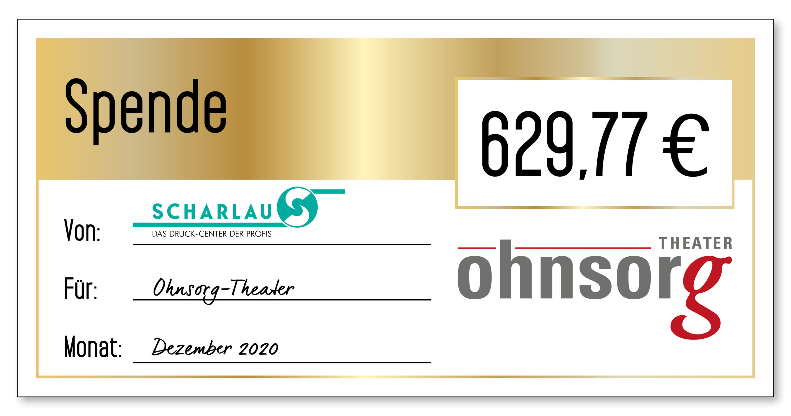 Spendenscheck an das Ohnsorg-Theater im Dezember 2020